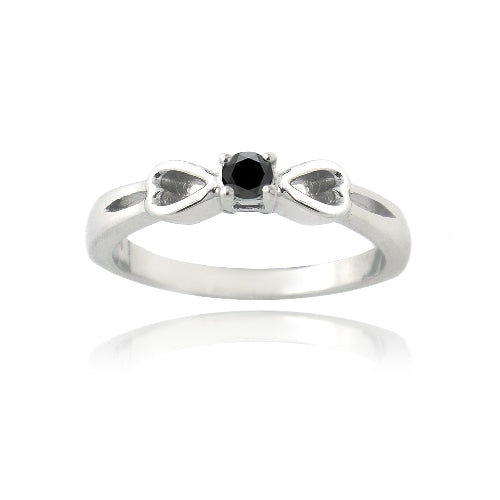 Sterling Silver 1/ ct Black Diamond & Heart Promise Ring