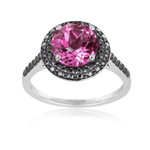 Sterling Silver 2.25ct Created Pink Sapphire & Black Diamond Accent Round Ring