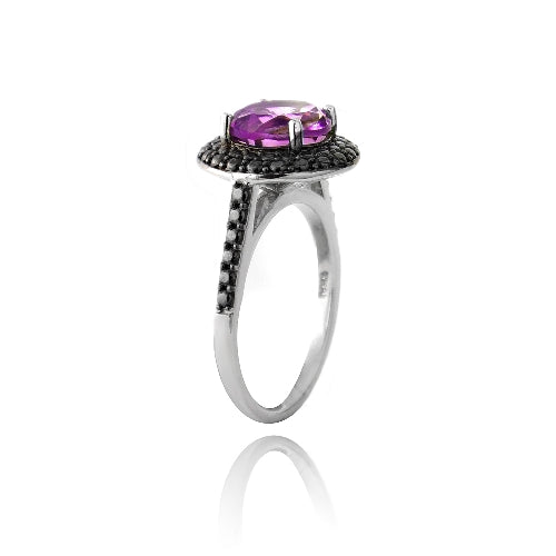 Sterling Silver 2.2ct Created Pink Sapphire & Black Diamond Accent Round Ring
