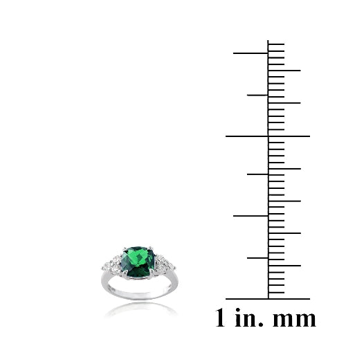 Sterling Silver 1.4ct Created Emerald & CZ Cushion Cut Ring