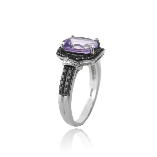 Sterling Silver 1.ct Amethyst & Black Diamond Accent Rectangle Ring