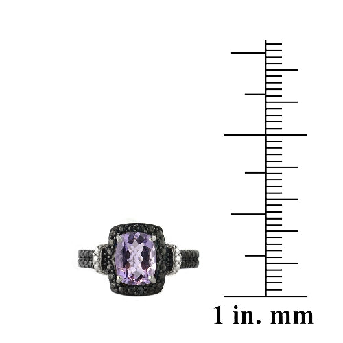 Sterling Silver 1.5ct Amethyst & Black Diamond Accent Rectangle Ring