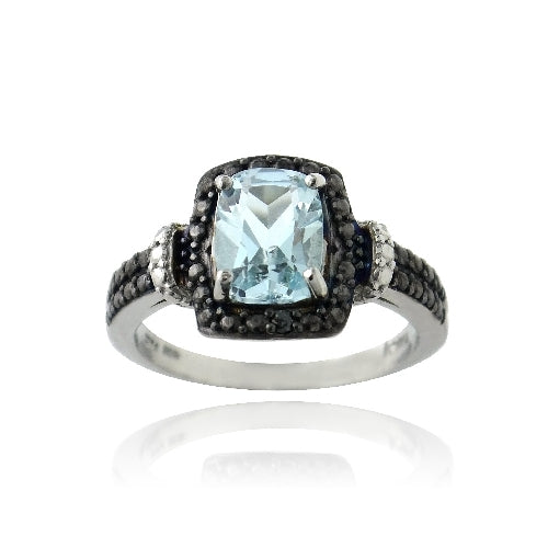Sterling Silver 1.ct Blue Topaz & Black Diamond Accent Rectangle Ring