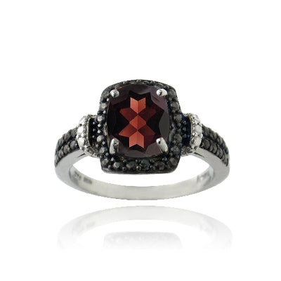 Sterling Silver 1.9ct Garnet & Black Diamond Accent Rectangle Ring