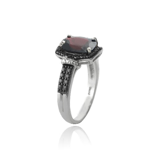 Sterling Silver 1.ct Garnet & Black Diamond Accent Rectangle Ring