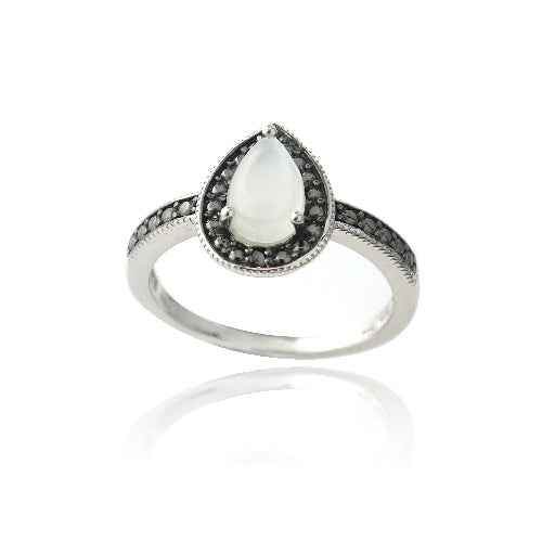 Sterling Silver Moonstone & Black Diamond Accent Teardrop Ring
