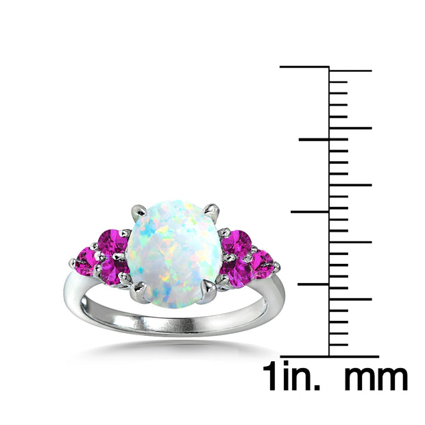 Sterling Silver Created White Opal & Pink Sapphire Oval Ring
