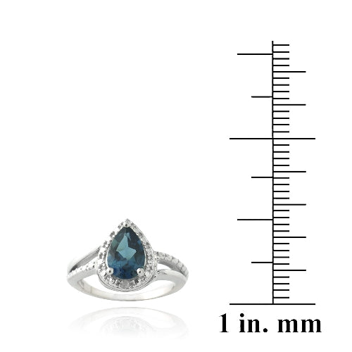 Sterling Silver 1.ct London Blue Topaz & Diamond Accent Teardrop Ring
