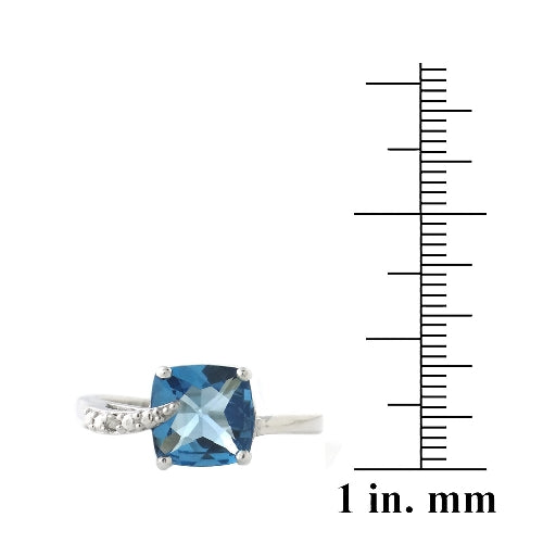 Sterling Silver 3.3ct London Blue Topaz & Diamond Accent Cushion Cut Curve Ring
