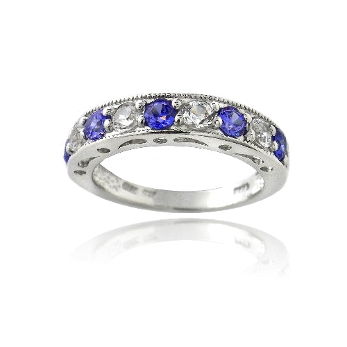 Sterling Silver 1.2ct Created Blue & White Sapphire Half-Eternity Band Ring
