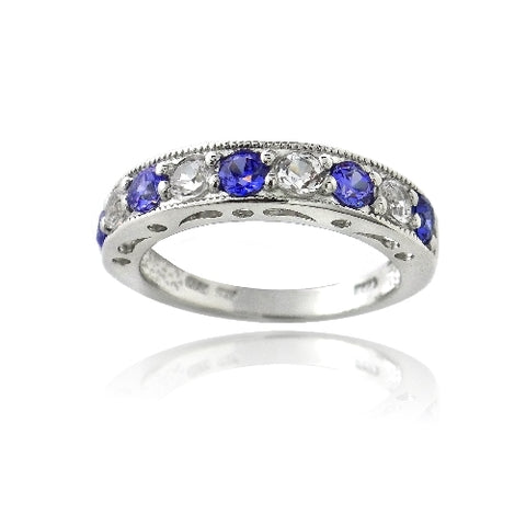 Sterling Silver 1.25ct Created Blue & White Sapphire Half-Eternity Band Ring