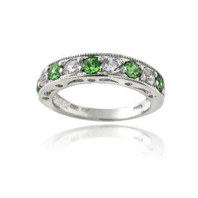 Sterling Silver 1.2ct Created Emerald & White Sapphire Half-Eternity Band Ring