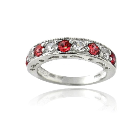 Sterling Silver 1.25ct Created Ruby & White Sapphire Half-Eternity Band Ring