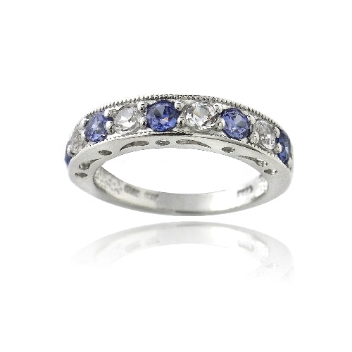 Sterling Silver 1.2ct Violet CZ & Created White Sapphire Half-Eternity Band Ring
