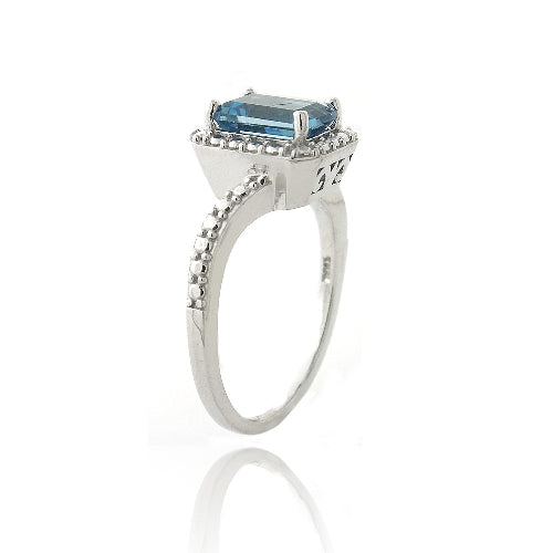 Sterling Silver 1.ct London Blue Topaz & Diamond Accent Emerald-Cut Ring