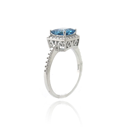 Sterling Silver 1.3ct London Blue Topaz & Diamond Accent Princess-Cut Ring
