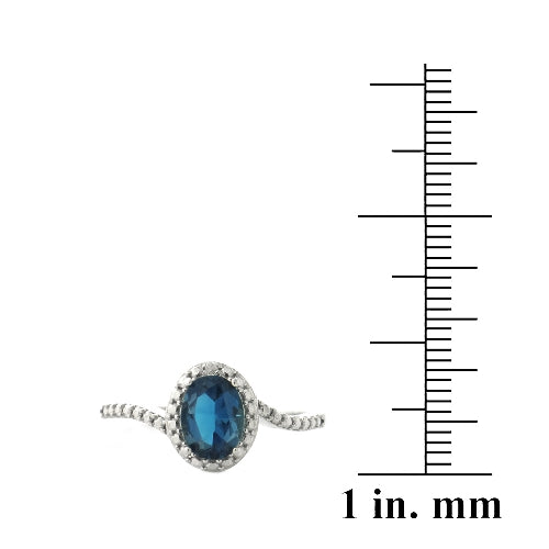 Sterling Silver 1.ct London Blue Topaz & Diamond Accent Oval Ring
