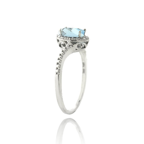 Sterling Silver 1.ct Swiss Blue Topaz & Diamond Accent Oval Ring