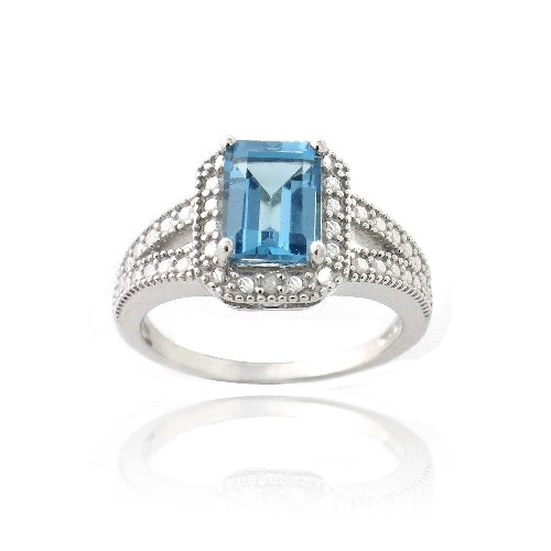 Sterling Silver 1.9ct London Blue Topaz & Diamond Accent Emerald-Cut Split Shank Ring