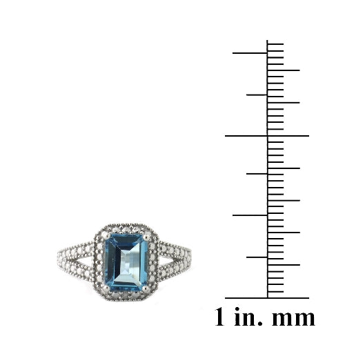 Sterling Silver 1.ct London Blue Topaz & Diamond Accent Emerald-Cut Split Shank Ring