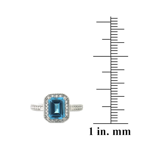 Sterling Silver 1.ct London Blue Topaz & Diamond Accent Rectangle Ring