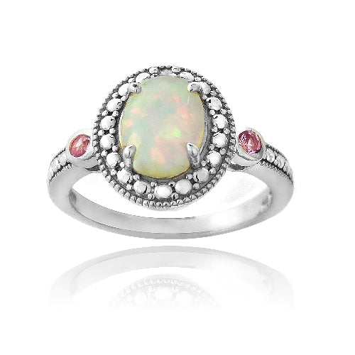 Sterling Silver Diamond Accent Created White Opal & Pink Sapphire Oval Ring