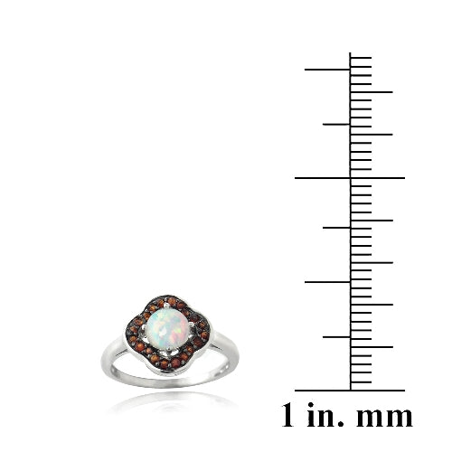 Sterling Silver Garnet & Created White Opal Flower Ring