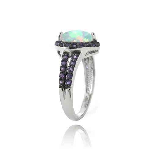 Sterling Silver Created White Opal & Amethyst Heart Ring
