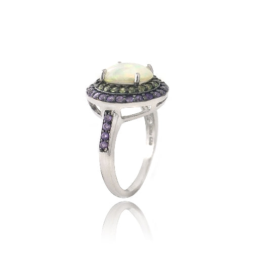 Sterling Silver Created White Opal, Amethyst & Peridot Oval Ring