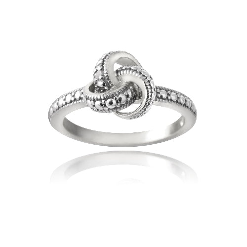 Sterling Silver Love Knot Diamond Accent Promise Ring