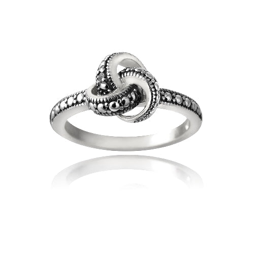 Sterling Silver Love Knot Black Diamond Accent Promise Ring