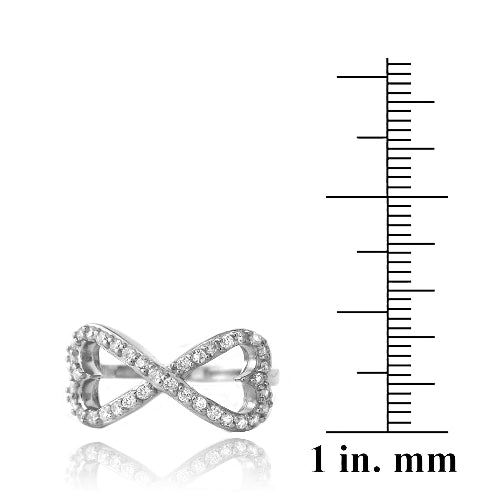 Sterling Silver CZ Infinity Hearts Ring