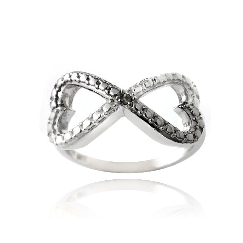 Sterling Silver Black Diamond Accent Infinity Hearts Ring