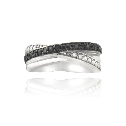 Sterling Silver 1/ ct Black Diamond Crossover Ring