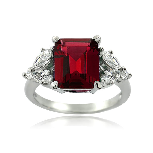 Sterling Silver Created Ruby & CZ Marquise Rectangle Ring