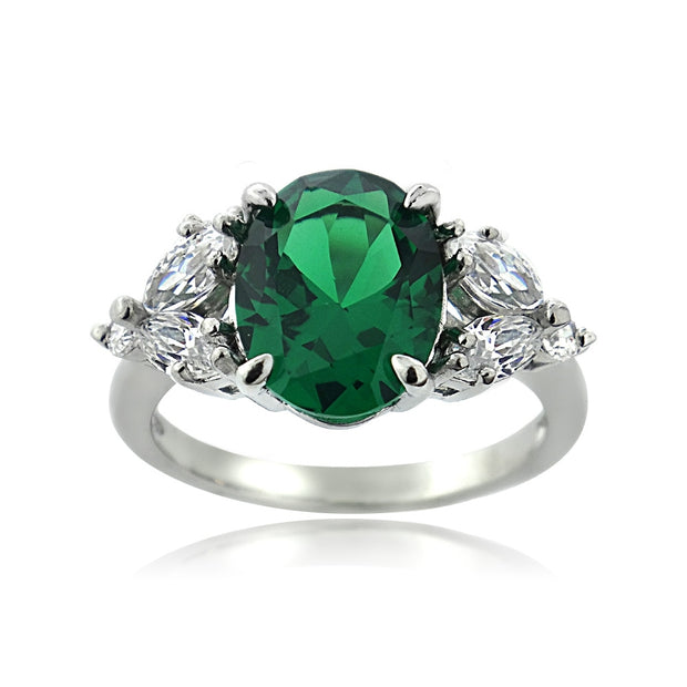 Sterling Silver Created Emerald & CZ Marquise Oval Ring