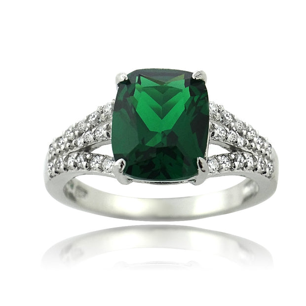 Sterling Silver Created Emerald & CZ Rectangle Ring