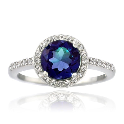 Sterling Silver Created Blue & White Sapphire Round Ring