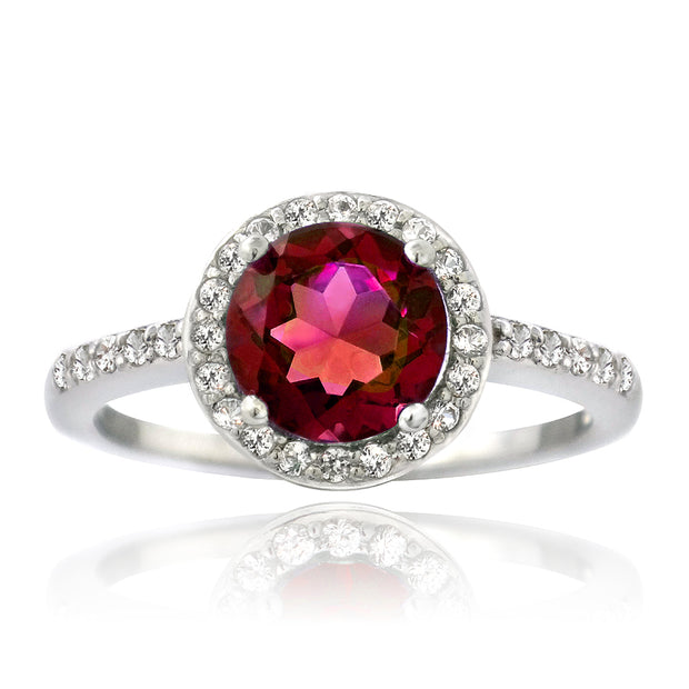 Sterling Silver Created Ruby & White Sapphire Round Ring