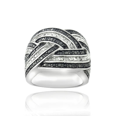 Sterling Silver 1/2ct Black & White Diamond Crossover Band Ring