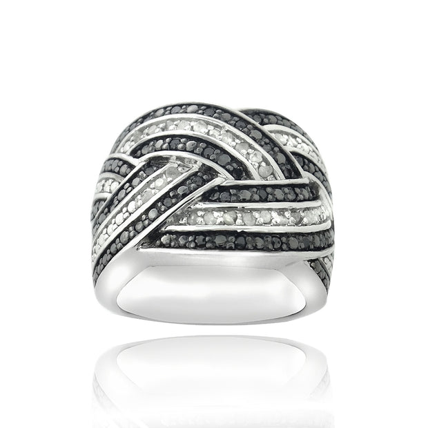 Sterling Silver 1/2 ct Black & White Diamond Crossover Band Ring