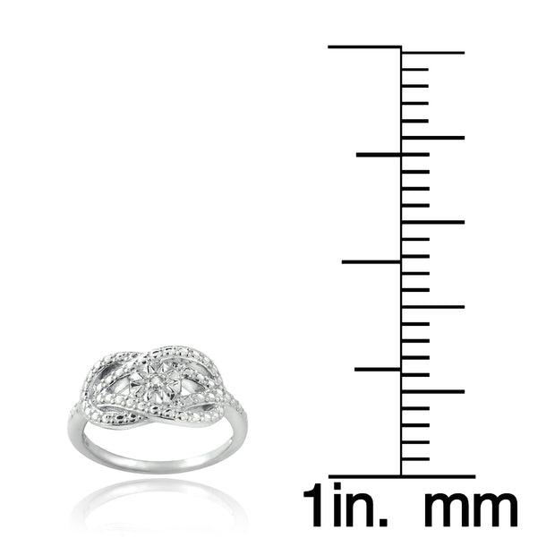 Sterling Silver Diamond Accent Love Knot & Flower Ring