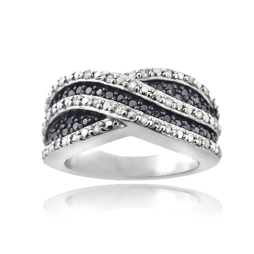 Sterling Silver 1/2 ct Black & White Diamond Crossover Wave Band Ring