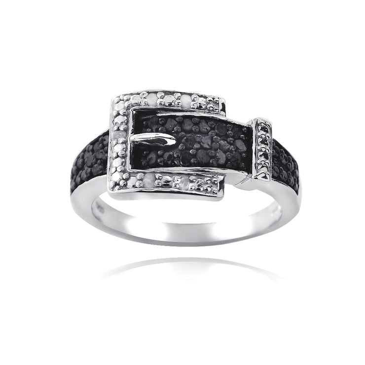 Sterling Silver 1/4 ct Black & White Diamond Belt Buckle Ring