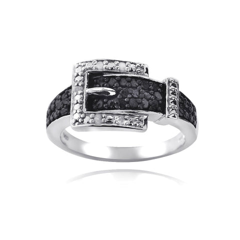 Sterling Silver 1/4ct Black & White Diamond Belt Buckle Ring