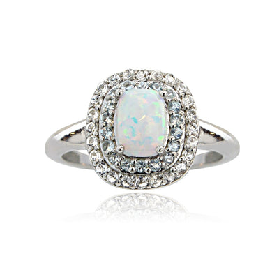 Sterling Silver Created Opal with Blue & White Topaz Oval Ring
