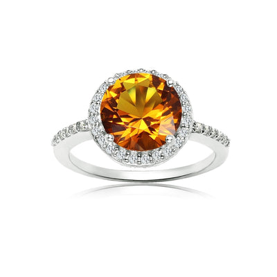 Sterling Silver Simulated Citrine and Cubic Zirconia Round Halo Ring, Size 10