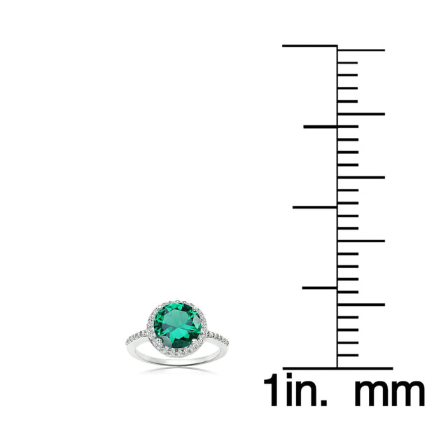 Sterling Silver Simulated Emerald and Cubic Zirconia Round Halo Ring, Size 10