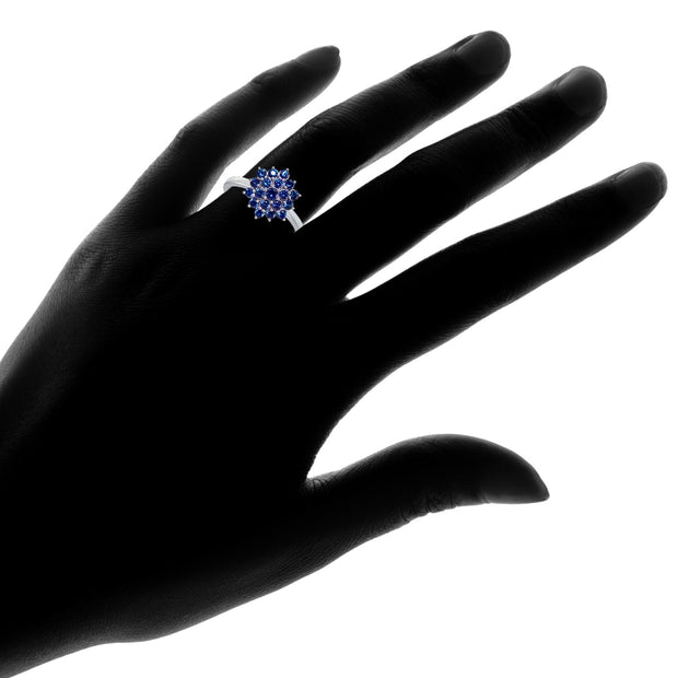 Sterling Silver Created Blue Sapphire Flower Ring,