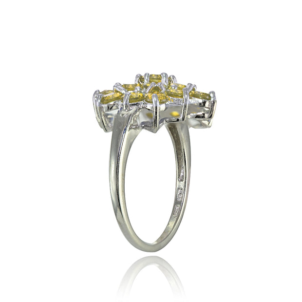 Sterling Silver Genuine Citrine Flower Ring